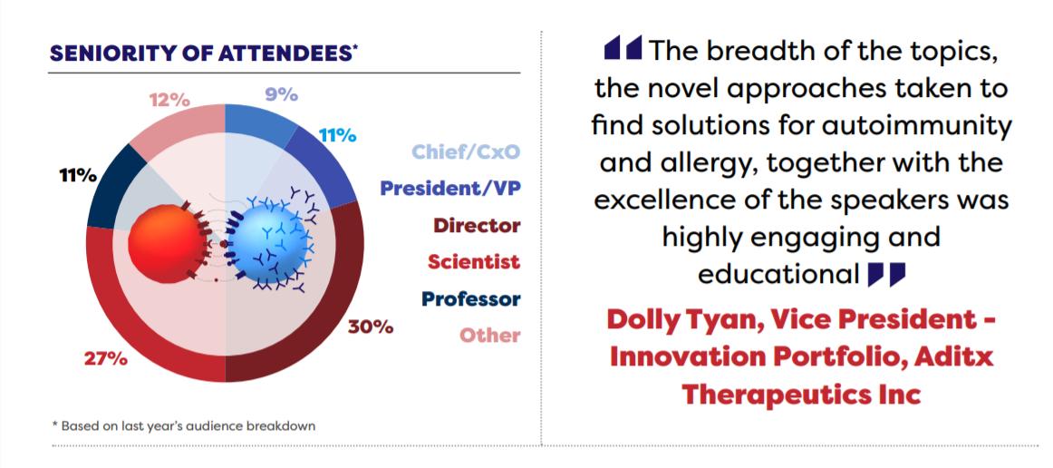 Seniority of attendees pie chart B & T Cell-Mediated Autoimmune Disease DD Summit